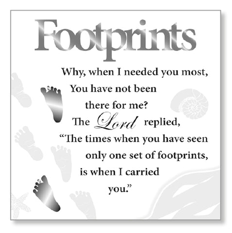 Footprints in the Sand - Wooden Wall / Standing Plaque