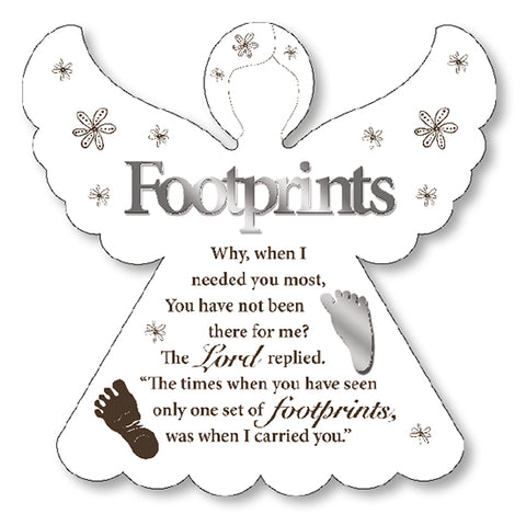 Footprints in the Sand - Wooden Angel Wall / Standing Plaque