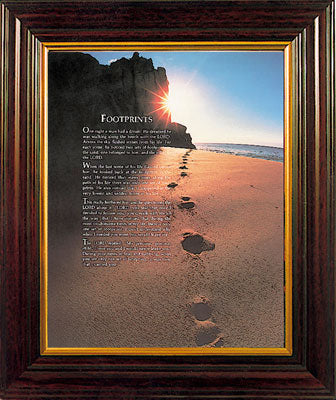 Footprints in the Sand - Wood Framed Picture -Large