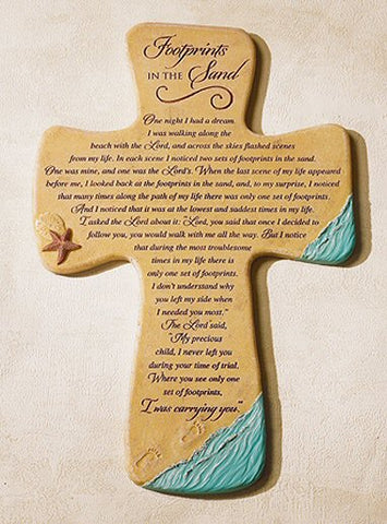 Footprints in the Sand - Resin Wall Cross