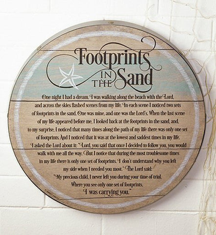 Footprints in the Sand - Wood Barrel Wall Plaque
