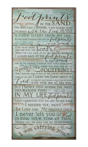 Footprints in the Sand - Wooden Wall Plaque