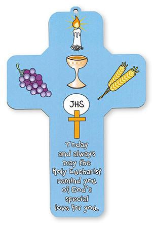 First Holy Communion Blue Wood Cross-Cross-Serenity Gifts
