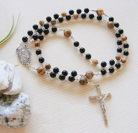 First Holy Communion Handmade Rosary - Black Onyx
