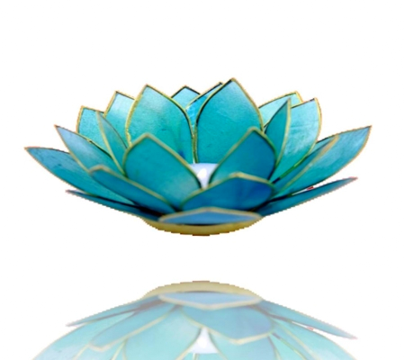 Lotus Flower Tea Light Holder - Light Blue-Tea Light Holder-Serenity Gifts