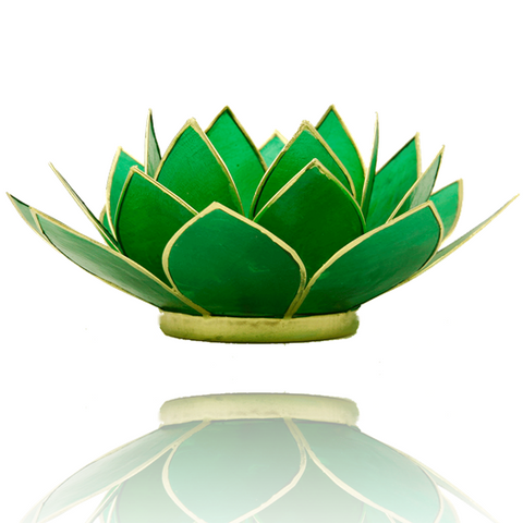 Lotus Flower Tea Light Holder - 4th Chakra Green-Tea Light Holder-Serenity Gifts