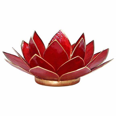 Lotus Flower Tea Light Holder - 1st Chakra Ruby Red-Tea Light Holder-Serenity Gifts