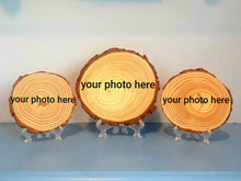 Load image into Gallery viewer, Personalised log slice set of 3 (2x 10-12cm & 1x 15-17cm)