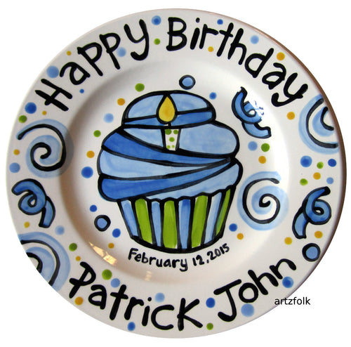 Baby birthday personalized Plate custom ceramic by Artzfolk
