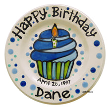 Load image into Gallery viewer, Blue cupcake birthday personalized Plate custom ceramic by Artzfolk