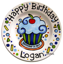 Load image into Gallery viewer, Birthday cupcake with cherry name Plate custom ceramic by Artzfolk