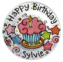 Load image into Gallery viewer, Small or Large handmade ceramic Celebrate happy birthday star Party plate personalized name cupcake