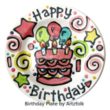 "Load image into Gallery viewer, 10"" or 7"" CUSTOM ceramic Birthday Cake Plate Personalized Celebration Time"