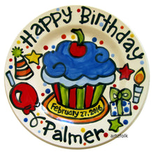 "Load image into Gallery viewer, Handmade colorful 7"" CUSTOM ceramic Birthday Cake Plate Personalized party theme cupcake by Artzfolk"