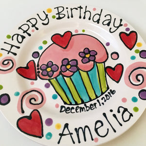 "Personalised Birthday Plate confetti party swirls and flowers cupcake handmade by Artzfolk 7"" or 10"""