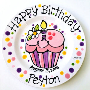 Handmade personalized birthday plate candle & flower