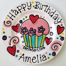 "Load image into Gallery viewer, Personalised Birthday Plate confetti party swirls and flowers cupcake handmade by Artzfolk 7"" or 10"""