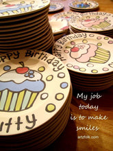 Load image into Gallery viewer, personalized baby Plate custom ceramic birthday by Artzfolk