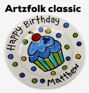"Personalized Birthday Plate 7"" Classic Style Ceramic handmade by Artzfolk"