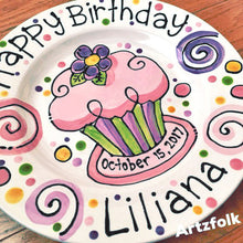 Load image into Gallery viewer, Personalized Birthday Plate confetti party swirls and flower cupcake handmade by Artzfolk
