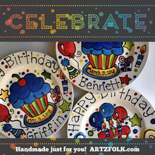 Load image into Gallery viewer, Personalized birthday plate party theme by Artzfolk