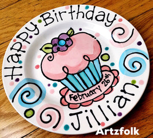 Personalized Birthday Plate confetti party swirls and flower cupcake handmade by Artzfolk