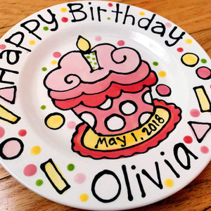 Handmade ceramic happy birthday personalized plate