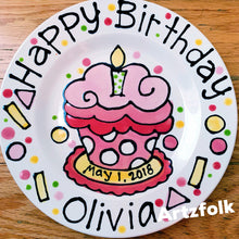 Load image into Gallery viewer, Handmade ceramic happy birthday personalized plate