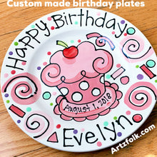 "Load image into Gallery viewer, Happy Birthday 10"" or 7"" polka dot pink cupcake personalized Plate custom ceramic"