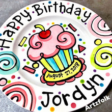 Load image into Gallery viewer, party swirls and cupcake handmade birthday plate by Artzfolk