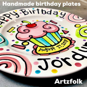 party swirls and cupcake handmade birthday plate by Artzfolk