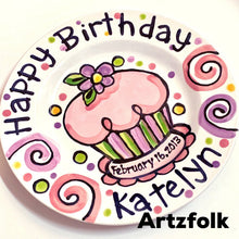 Load image into Gallery viewer, Personalized Birthday Plate confetti party swirls, flower cupcake handmade by Artzfolk