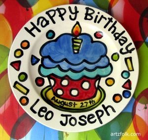 "Happy Birthday polka dot cupcake with candle personalized Plate custom ceramic plate 7"" or 10"""