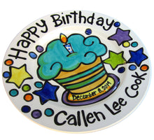 Load image into Gallery viewer, CUSTOM handmade name birth date ceramic cupcake Birthday Plate Personalized great for TWINS