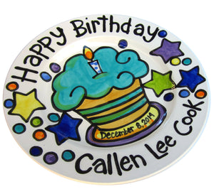 CUSTOM handmade name birth date ceramic cupcake Birthday Plate Personalized great for TWINS