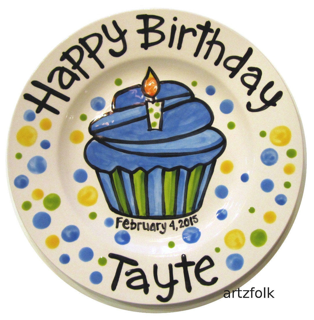 Blue cupcake birthday personalized Plate custom ceramic by Artzfolk