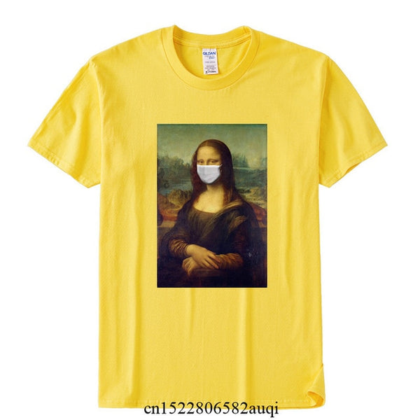 New 2020 Mona Lisa With The Mask Funny T shirt Men Women Summer Cotton T-shirt Boy Girl Clothes,