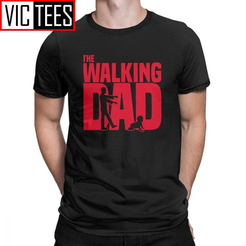 Man T Shirt The Walking Dead The Walking Dad Simple Short Sleeves Tees Shirt Round Collar Clothes Cotton Printing T-Shirts