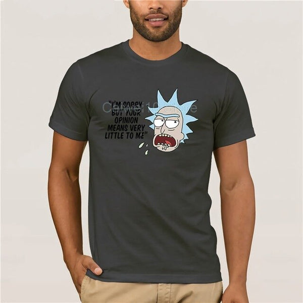 men's casual fashion T shirt round Rick & Morty Im Sorry but Your Opinion Means Very Little BN Men's white short sleeve t shirt