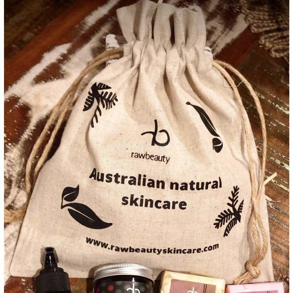 rawbeauty naturally Gift Pack rawbeauty Hemp Drawstring Reusable Bag