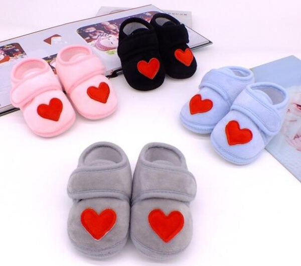 Baby Shoes Red Heart Newborn Pink Girls Infant Shoes Prewalkers Crib Shoes Nonslip Black Baby Boys 2019 New SandQ Baby Sweet - 27orLess