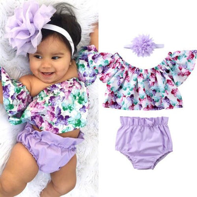 Newborn Baby Girls Off Shoulder Floral Clothes - 27orLess