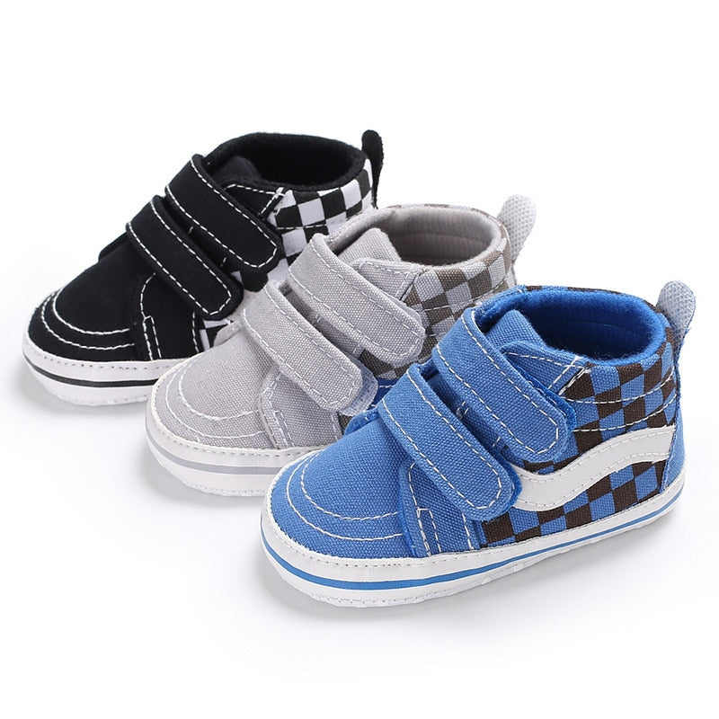 Baby Boy Classic Casual Baby Shoes Toddler Newborn Canvas Plaid Baby Girls Autumn Sport First Walkers Sneakers Shoes - 27orLess