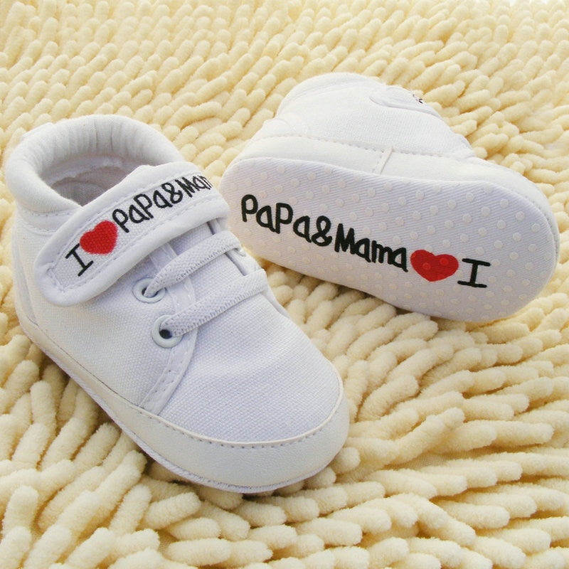 Baby Shoes I Love PaPa&MaMa Letter Printed Soft Bottom Footwear Heart-shaped 0-18M Newborn First walker - 27orLess