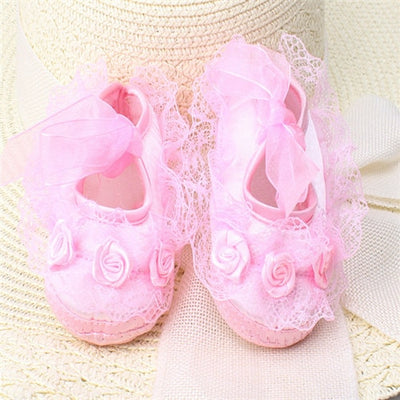Baby Girl Shoes First Walkers Lace Floral Newborn Baby Shoes Princess Infant Toddler Baby Shoes for Girls Party - 27orLess