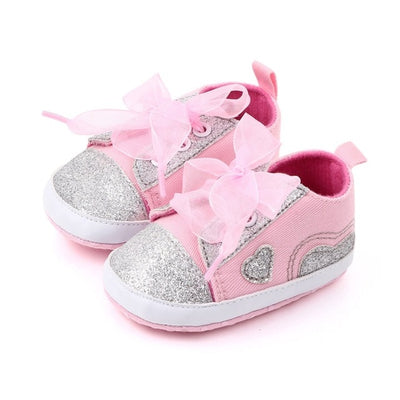 Infant Newborn Baby Girls Polka Dots Heart Autumn Lace-Up First Walkers Sneakers Shoes Toddler Classic Casual Shoes - 27orLess