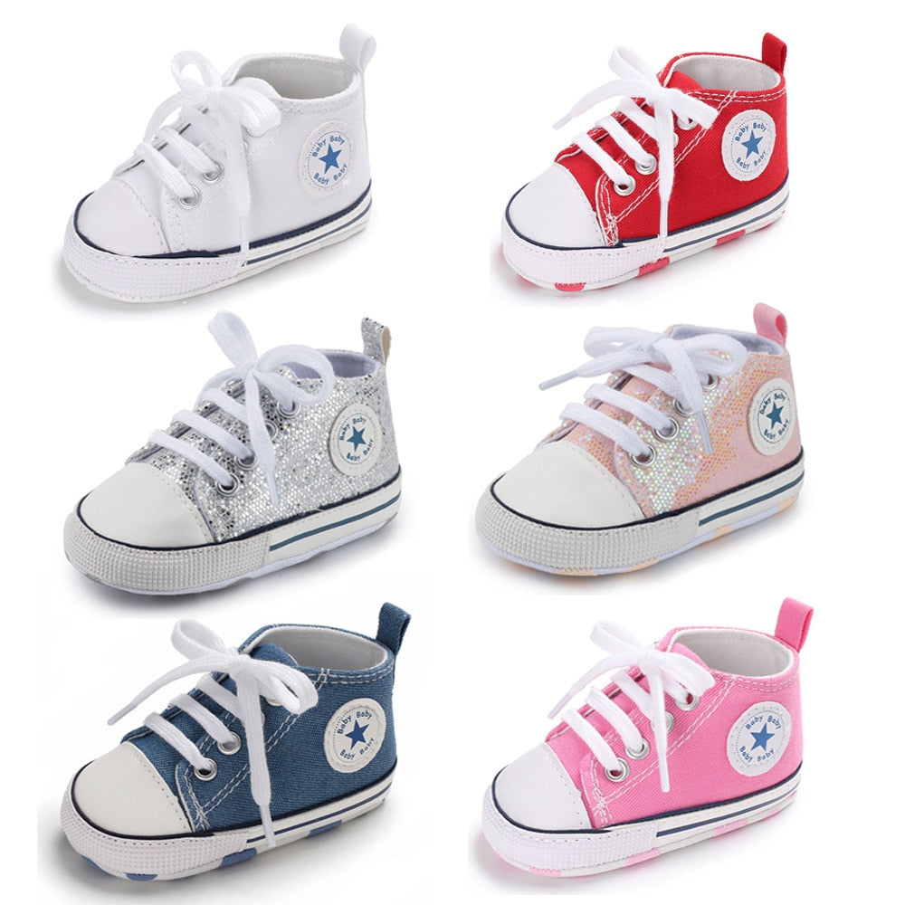 Baby Shoes Boy Girl Star Solid Sneaker Cotton Soft Anti-Slip Sole Newborn Infant First Walkers Toddler Casual Canvas Crib Shoes - 27orLess