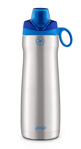 Pogo Vacuum Stainless Steel Water Bottle with Chug Lid, Blue, 26 Oz.