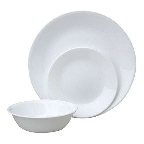 Corelle Livingware 12 Piece Dinnerware Set, Winter Frost White , Service for 4