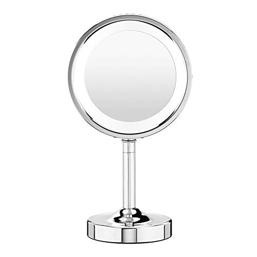 Conair Double-Sided Lighted Makeup Mirror - Lighted Makeup Mirror; 1x/5x magnification; Polished Chrome Finish